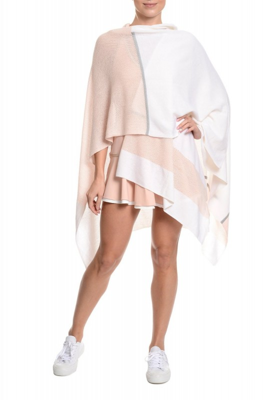 B Comfortable Poncho Wrap White-Pink